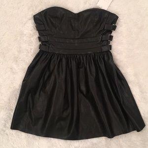NWT ZARA Soft Faux Leather Bustier Mini Dress, M